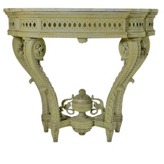 Louis XVI Carved Wood Console Table For Sale