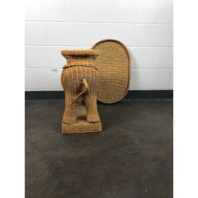 Tan Vintage Woven Rattan Elephant Tray Table For Sale - Image 8 of 13