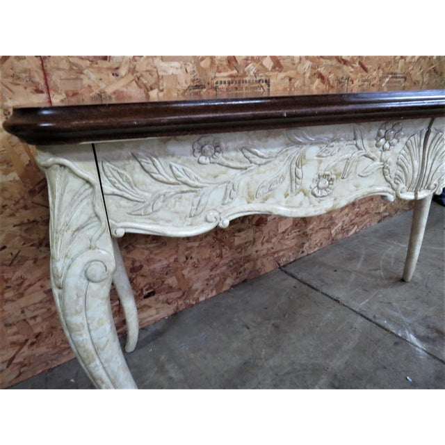French Provincial French Style Faux Painted Carved Console Table For Sale - Image 3 of 7