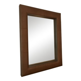 Upholstered Saddle Leather Mirror For Sale
