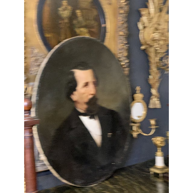19th-Century Oil on Oval Canvas Portrait Painting For Sale - Image 9 of 13