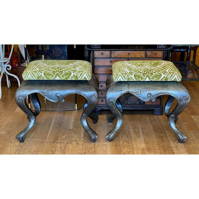 Italian Antique 19c Carved Venetian Stools - a Pair For Sale - Image 3 of 5