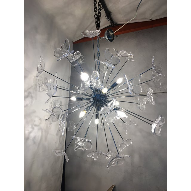 Transparent Italian Mid-Century Kromo Murano Glass Butterfly Sputnik Chandelier For Sale - Image 8 of 11