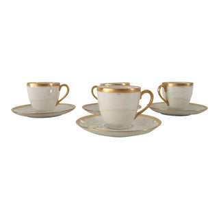 Vintage Thomas Pearl Luster White/Gilded Rim Demitasse Set - 4 Pc.