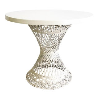 Spun Fiberglass Round White Dining Table Outdoor Vintage For Sale