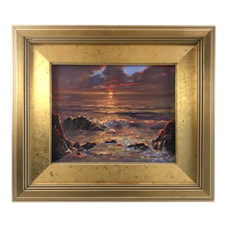 "1997 ""Sunset Seascape"" Oil Painting on Board by Paul Youngman For Sale"