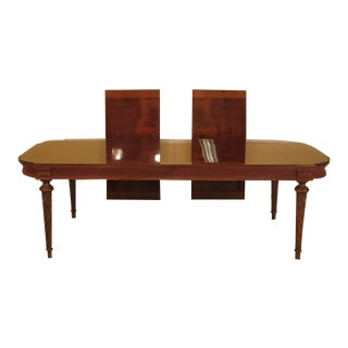 EJ Victor Regency Burl Walnut Dining Room Table For Sale