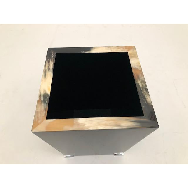 Modern Black Lacquer and Horn Waste Paper Basket For Sale - Image 3 of 6