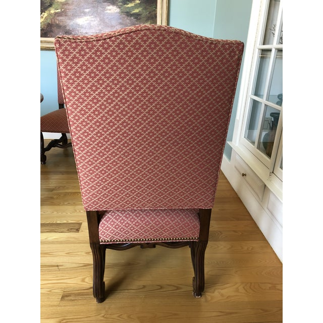 Pink Modern Carved Wood and Upholstered Chippendale Style Dining Chairs- Set of 8 For Sale - Image 8 of 13