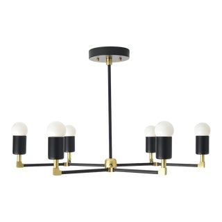 """Budapest Chandelier, Matte Black & Brass with 20"""" Rod For Sale"""