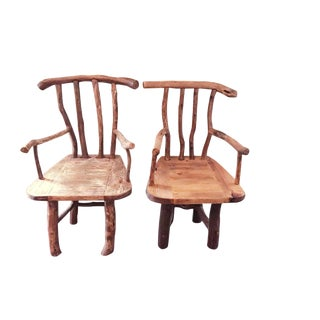 Solid White Oak & Pine Wood Chairs - A Pair For Sale