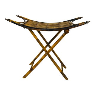 1980s Bamboo Folding Console Table For Sale