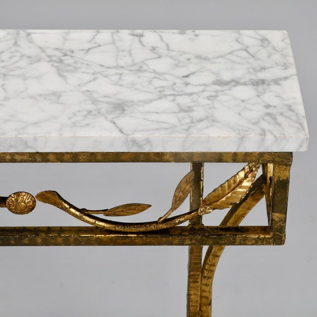 Iron French Gilt Iron Wall Hung Console with Marble Top For Sale - Image 7 of 11