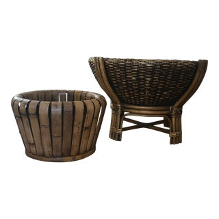 Vintage Bamboo Planters - a Pair