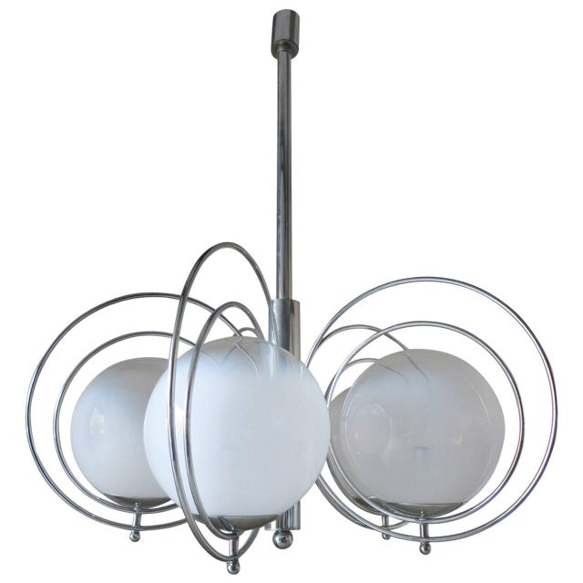 Italian Mid-Century White Murano Globes Chandelier by Reggiani For Sale - Image 9 of 9