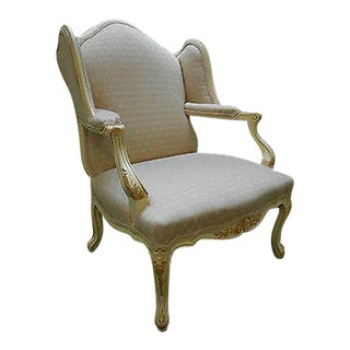 Custom Wide Seat French Louis XV Wing Chair Fauteuil For Sale