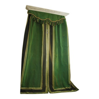 Antique 1880s Striped Green & Gold Bedroom Curtain Set Pelmet or Valance - 3 Piece Set For Sale