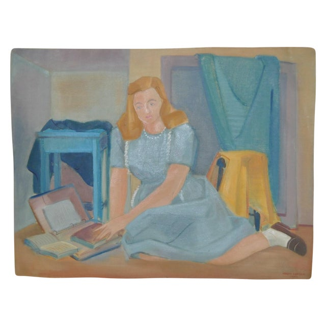 Nancy Larsen Vintage School Girl Painting C.1940's - Image 1 of 6