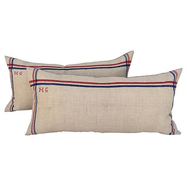 French Linen Embroidered Pillows - A Pair For Sale