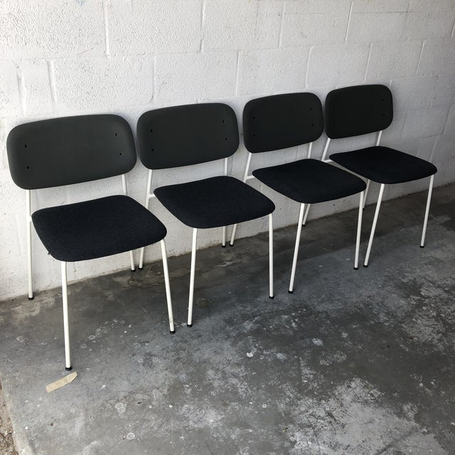 Set of four Preowned Hay Iskos-Berlin's Soft Edge Stackable Chairs. Made possible by exploring innovative molded plywood...
