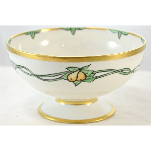 Vintage hand painted French Haviland centerpiece bowl with detailed purple grapes, yellow pears, green leaves and vines...