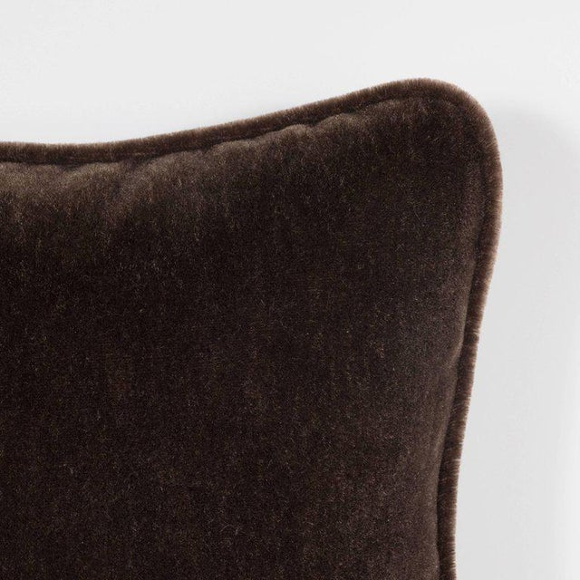 Art Deco Gorgeous Pair of Square Custom Handmade Pillows in Chestnut Mohair with Piping For Sale - Image 3 of 6