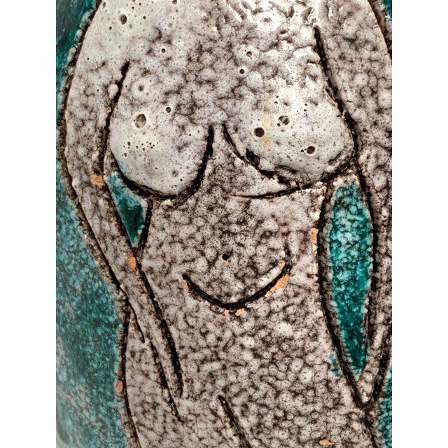 Green Gambone and Fanciullaci Style Italian Mid-Century Modern Ceramic Vase For Sale - Image 8 of 13