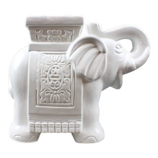 1990s Vintage Chinoiserie Lucky White Elephant Stand Figurine For Sale