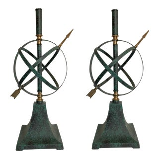 Armillary Verdigris Lamp Bases, Pair For Sale