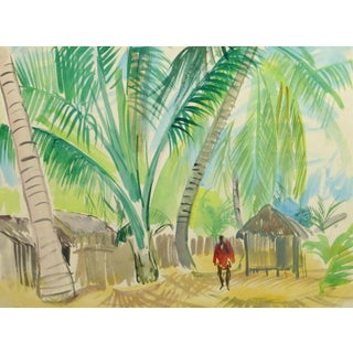 Stephane Magnard, French Watercolor - Tropical Village For Sale