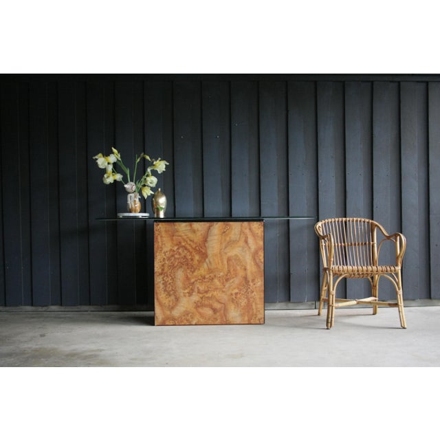 Karl Springer 1980s Contemporary Faux Birdseye Maple Burl Console Table For Sale - Image 4 of 13