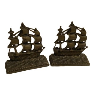 Antique Brass Ship Bookends - A Pair