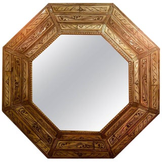 Hexagonal Ivory Color Camel Bone Beveled Mirror