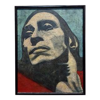 Mendij Strong Male Face Portrait Oil Painting For Sale