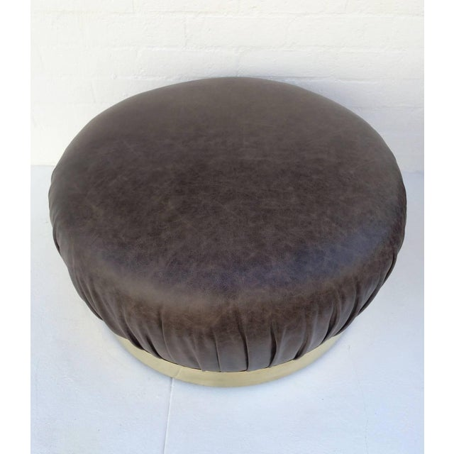 Large-Scale Leather and Brass Ottoman by Karl Springer - Image 3 of 6