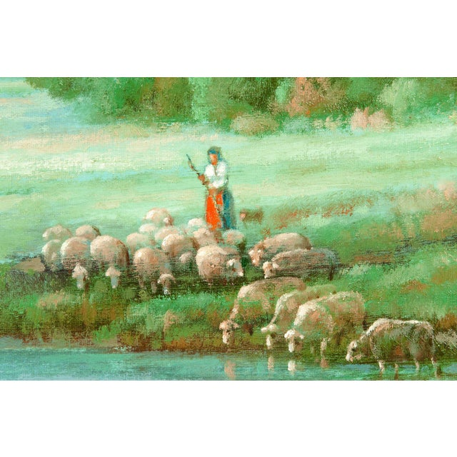 """Impressionism Large """"Green Meadow"""" Giltwood Framed Oil / Canvas Painting For Sale - Image 3 of 7"""