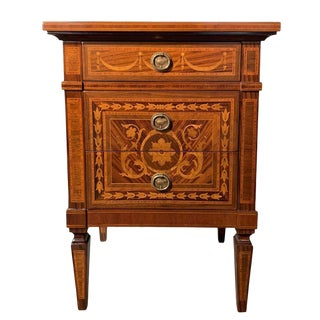 20th Century Italian Nightstand End Table With Marquetry For Sale