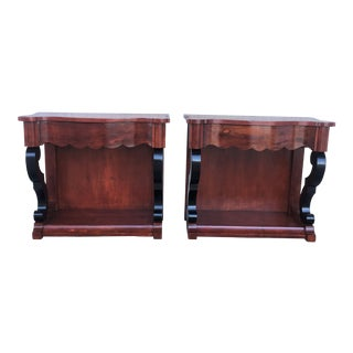 19th Century Low Pair of Console Tables or Nightstands in Mahogany With One Drawer For Sale