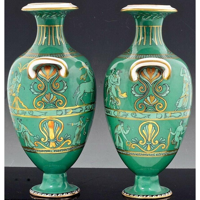 Ceramic English Porcelain Neoclassical Jade Green-Ground Vases - a Pair For Sale - Image 7 of 8