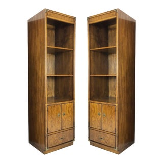 Pair of Campaign Style Bookcases by Drexel With Brass Accents For Sale