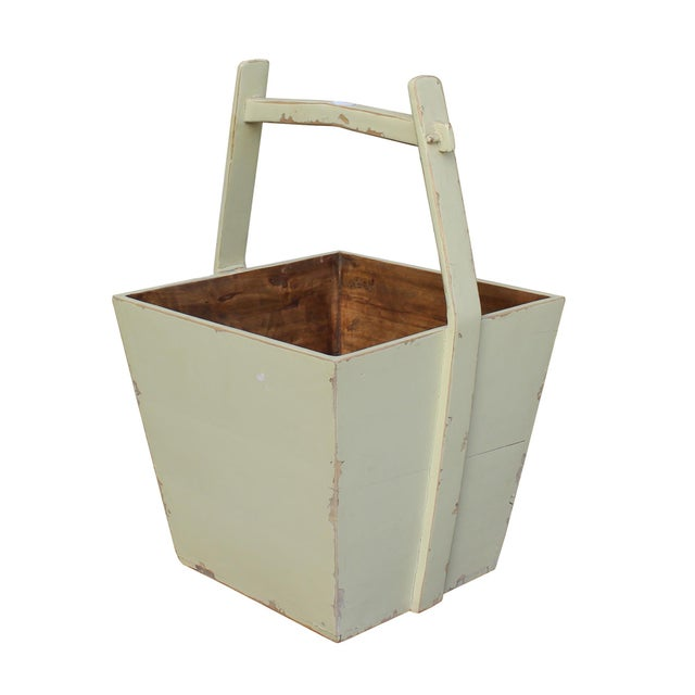 Traditional Chinese Village Vintage Wood Off White Square Handle Bucket For Sale - Image 4 of 6