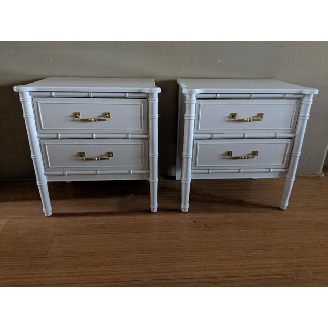 Faux Bamboo 1970s Chinoiserie Henry Link Faux Bamboo High Gloss White Night Stands - a Pair For Sale - Image 7 of 7