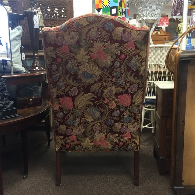 Red Floral Wing Back Chairs - A Pair - Image 5 of 7