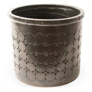 Mid-Century Modern Embossed Black Planter For Sale