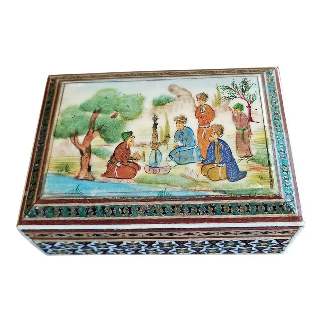 Persian Handpainted Khatam Mosaic Trinket Box For Sale