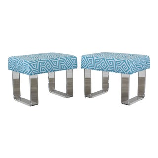 Acrylic Waterfall Benches- a Pair For Sale