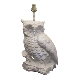 Vintage Large White Ceramic Owl Converted to Lamp For Sale