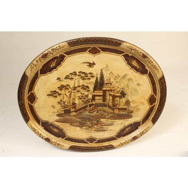 Late 19th Century English Regency Style Chinoiserie Decorated Tray Table For Sale - Image 5 of 13