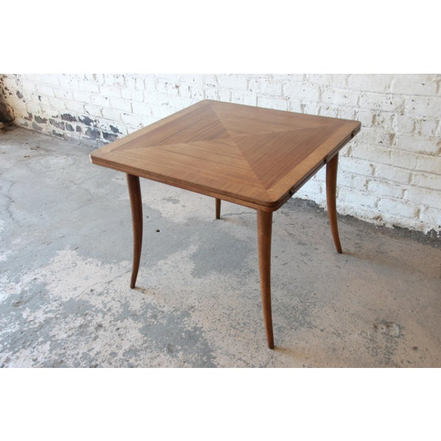 Harvey Probber Mid-Century Modern Bleached Mahogany Saber Leg Flip Top Extension Dining or Game Table For Sale - Image 10 of 10