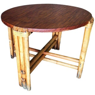 Restored Round Rustic Rattan Coffee Table With Mahogany Top For Sale